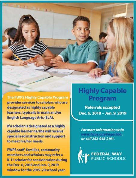 Highly Capable Program - Referrals Accepted 12/6/18 - 1/9/19