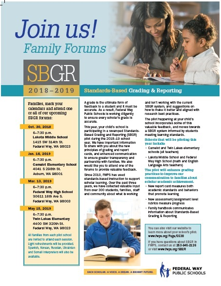 Join us! Standards-Based Grading and Reporting Family Forum