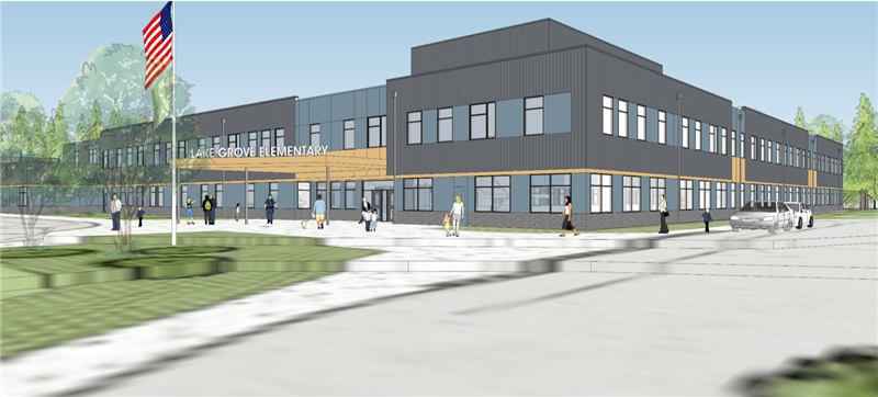 exterior design of the new Lake Grove Elementary