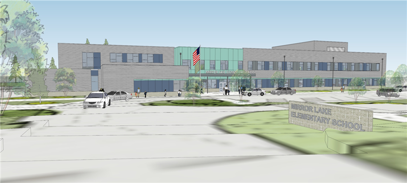 entry design of the new Mirror Lake Elementary