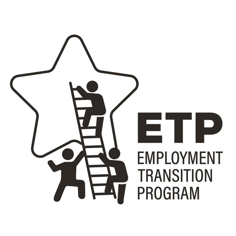 Logo for Employment & Transition Program, with a student-scholar climbing a ladder onto a star.