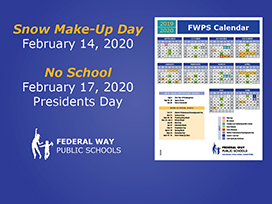 Snow make-up day Feb. 14, No School Feb. 17 for Presidents Day