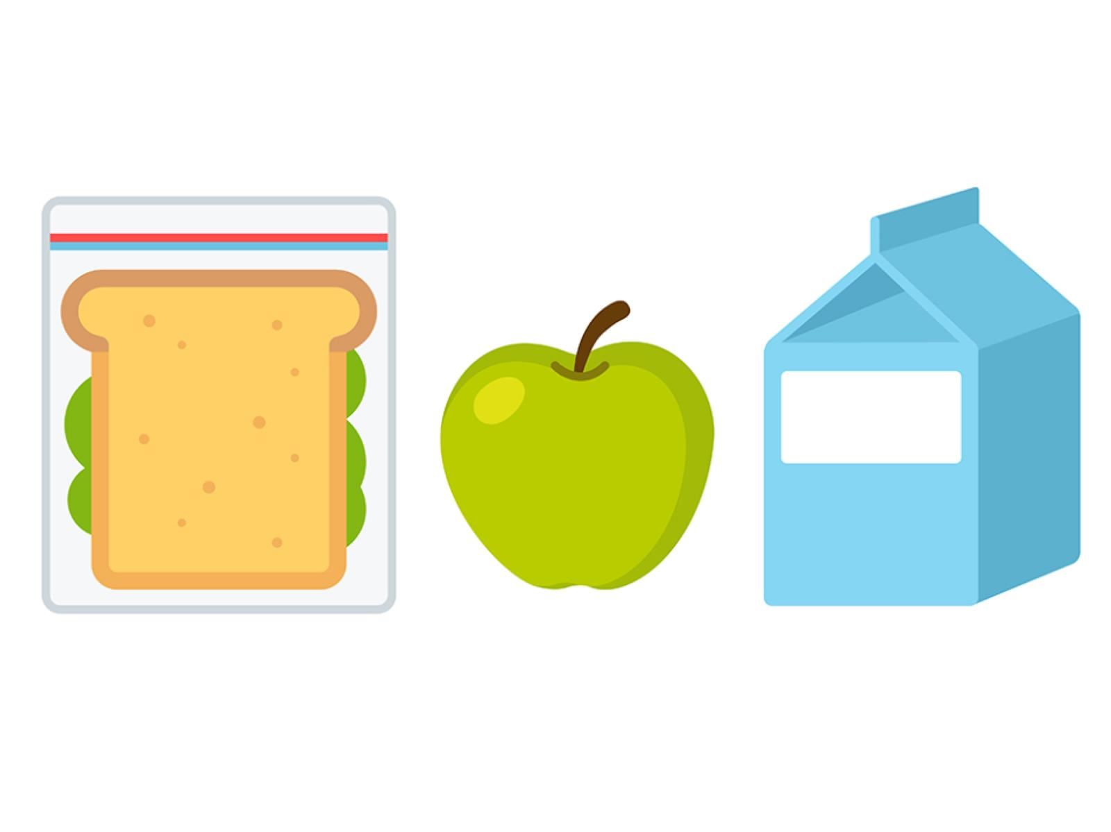 photo of sandwich milk and apple