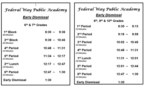 Early Dismissal Schedule