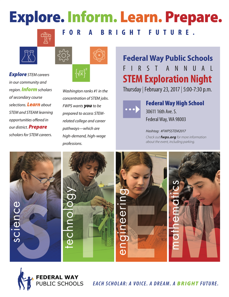 STEM Exploration Night is February 23, 2017 at Federal Way High School